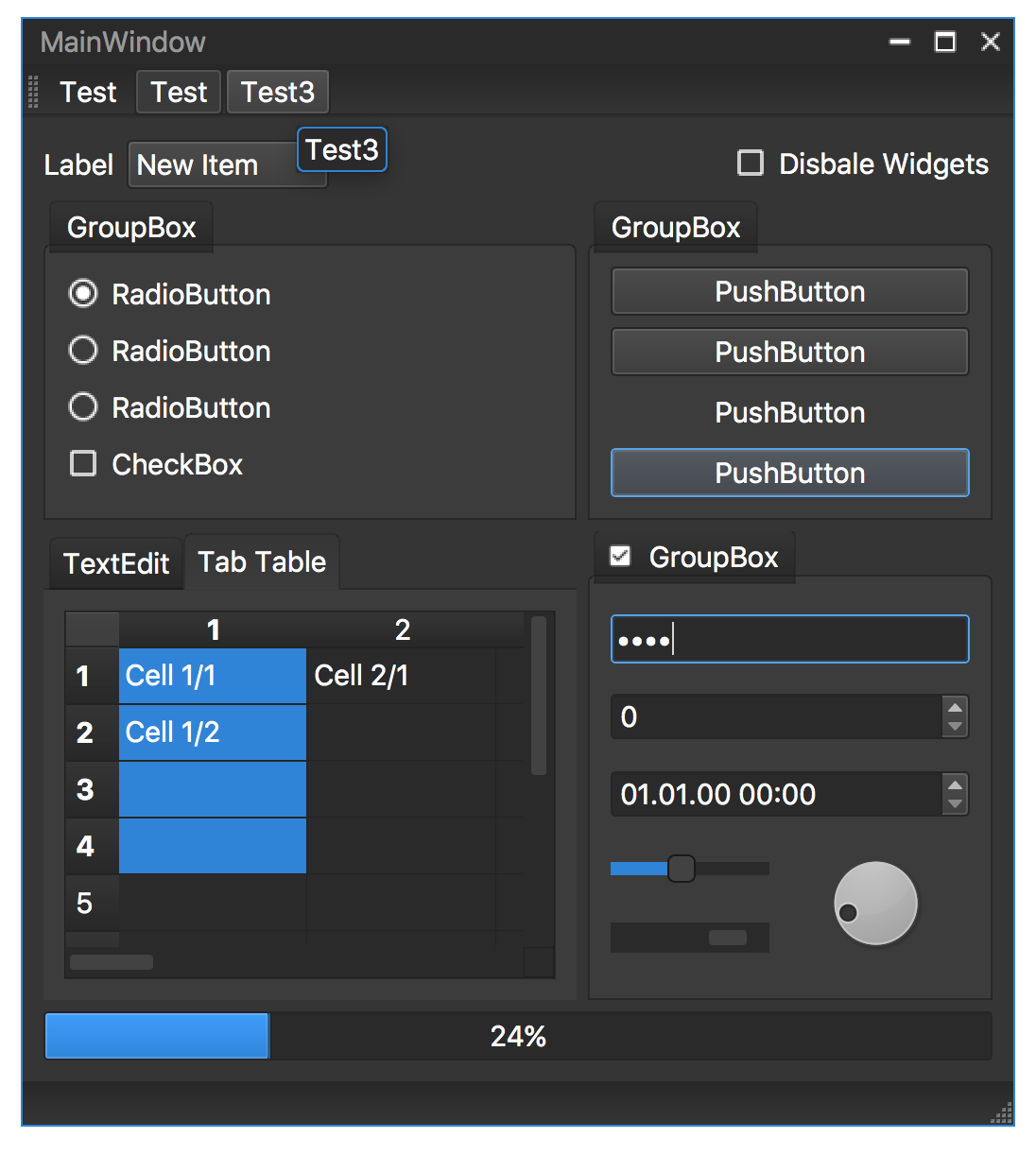 screenshot qt frameless window with custom dark style - mac enabled