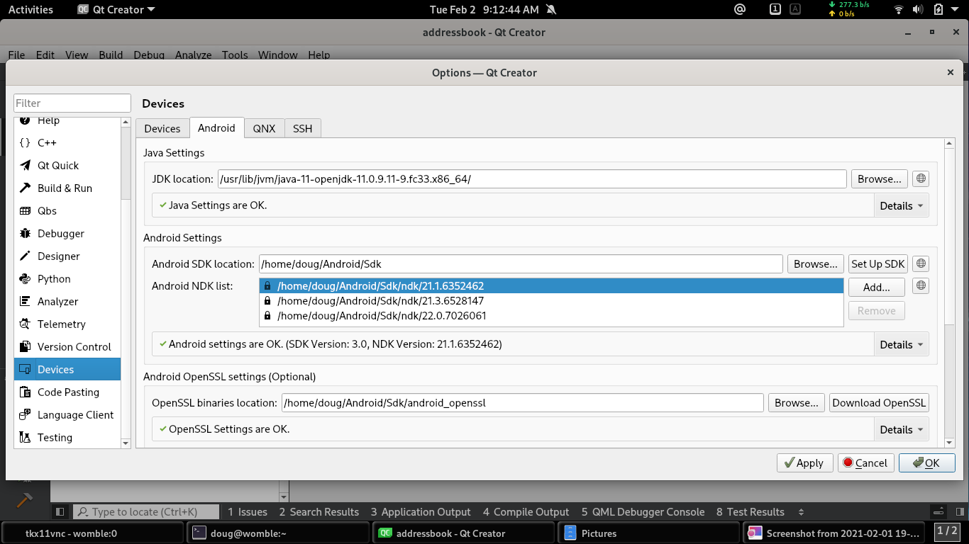 QtCreator Java and Androids settings seem ok.png