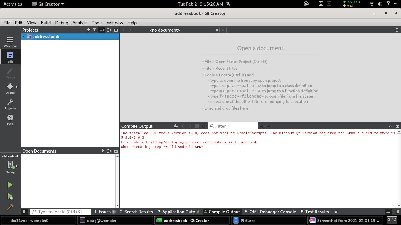 QtCreator build error for example project addressbook.png