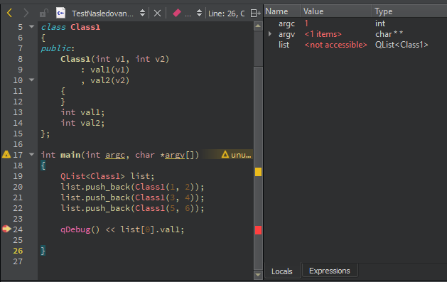 Qt Creator debugging - The values of all composite type