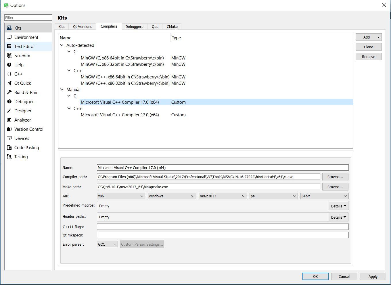 Can not build application msvc2017, Qt 5 10 1, Qt creator