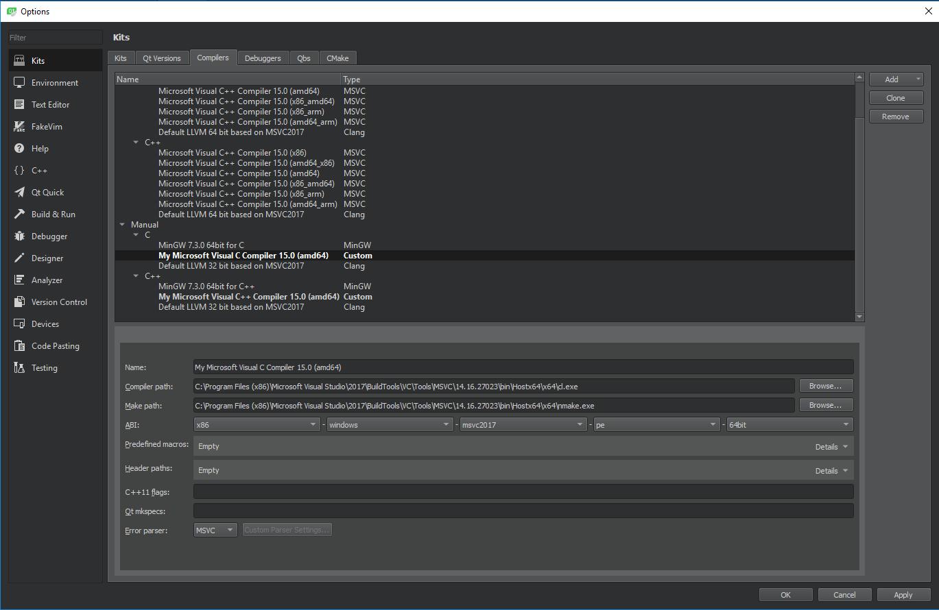 Qt Creator and Visual C++ Compilers | Qt Forum