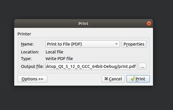 QPrint no possible to set page size and orientation (ubuntu